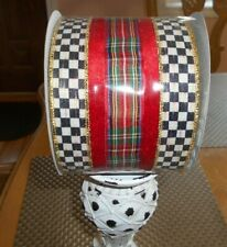 """Mackenzie Childs Highland Ribbon 4"""" Wired Edge Courtly Check With Red Velvet Str"""