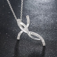 Fashion Women 925 Silver Charms Cross Crystal Chain Necklace Wedding Jewelry
