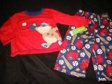 NWT Boys CARTERs 24 mo Baseball PJs Pajamas Red Dog Navy Blue Puppy Carter's