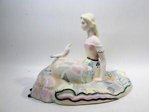 1930s Art Deco LENCI Torino Italy Figurine Reclining Lady with Dove