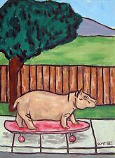 Skate boarding hippo hippopotamus 13x19 poster gift modern folk art Glossy Pr