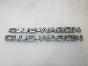81-91 Ford Econoline Club Wagon Van Fender Emblem Script Nameplate Badge 2pc OEM