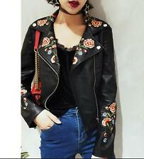 Womens flower leather Motorcycle Floral embroidered Jacket Coat bomber jacket