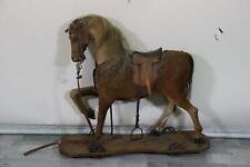 Spielzeug Pferd zum Draufsitzen Holz mit echtem Pferdefell Mitte 19.Jhd (MÖ4156)