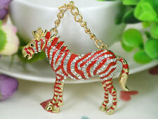 T Zebra Red Keyring Rhinestone Crystal Charm Key Women Bag Chain Pendant Gift