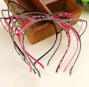Sexy Women Girl Wire Woven Cat Ears Material Hairband Fun Dress Up Halloween UK