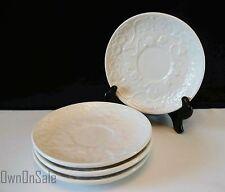 Bordallo Pinheiro Saucer Plate SET OF 4 White Flowers Pattern Pottery Portugal