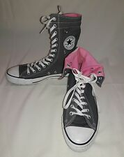 Converse All Stars Chuck Taylor Gray Pink High Tops Fold Over 13 Hole M8 W10