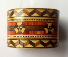 MARQUETRY MOSAIC BRACELET ARTISAN WOOD INLAY BANGLE CUFF  VINTAGE JEWELRY