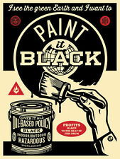 Shepard Fairey PAINT IT BLACK (BRUSH) Canvas print obey Street Art Reproduction