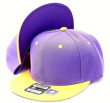 PLAIN SNAPBACK HAT CAP LAKERS COLOR PURPLE/YELLOW ADJUSTABLE, ONE SIZE FITS ALL
