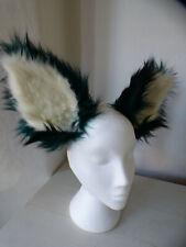 Cosplay fox ears on headband, Kat Croker, handmade, long dark green/black