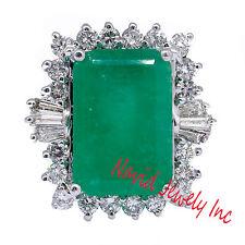 Verde Esmeralda Diamante Anillo De Cóctel 14k Oro Blanco 10.75 Quilate