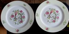 Occupied Japan S.G.K. China Set of 2 Royal Bird  White Decorative Dinner Plates
