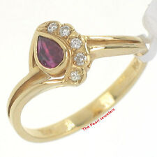 18k Solid Yellow Gold Genuine Diamonds, Natural Red Pear Ruby Solitaire Ring TPJ