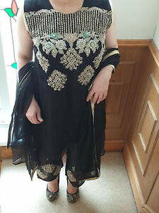 Designer Chiffon Embroidery Suit Stitched Lined Trouser Kameez Chiffon Dupatta