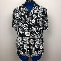 Dress Barn Women Size 14/16 Black/White Print Short Sleeve Button Down Shirt