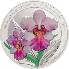 2016 Cook Island 1 oz Proof Silver Coin - The Singapore Orchid Miss Joaquim BOX