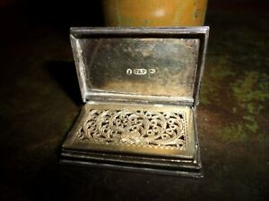 ANTIQUE JOHN TAYLOR & PERRY ENGLISH STERLING SILVER BOOK SHAPED VINAIGRETTE