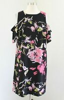 Tahari Levine Studio Black Pink Floral Print Open Cold Shoulder Dress Size 12