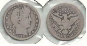 1916-D Silver Barber Quarter in Circulated Condition ~