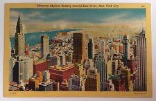 NYC NY Midtown Skyline looking toward East River, NYC Linen Postcard no. 114