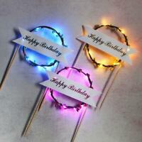 LED Glowing Garland Cake Topper Happy Birthday Party Cake Decor Y4Z2