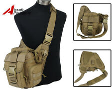 1000D Tactical Airsoft Outdoor Utility Shoulder Sling Bag Pouch Backpack Tan