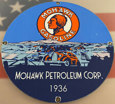 VINTAGE MOHAWK GASOLINE PORCELAIN SIGN GAS STATION PUMP PLATE MOTOR OIL SERVICE