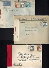 PALESTINE 1940's THREE WAR TIME CENSORED COVERS TEL AVIV TO NY & COLUMBUS