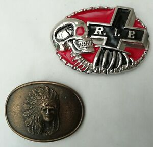 Two Metal Belt Buckles - Chambers Belt Co.Native American & Skull + Cross R.I.P.
