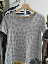 Cos Grey with Square Pattern T-Shirt Tee Top Size S