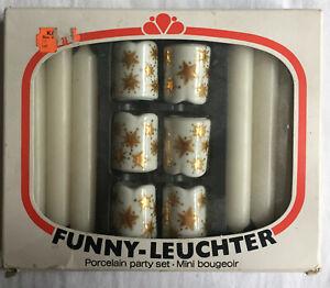 FUNNY LEUCHTER  Porzellan  Set 6 Kerzen 6 Kerzenhalter  VINTAGE NEU OVP