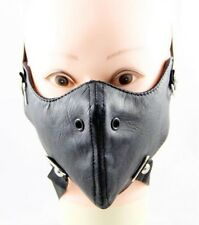 Black Faux Leather Half Face Mask Simple Gothic Punk Ski Motorcycle Raves Unisex
