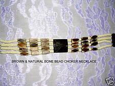NEW TRIBAL DK BROWN & NATURAL COLOR PERU ALPACA CAMEL BONE BEAD CHOKER NECKLACE