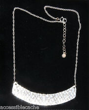 Cerated Snake Skin EgyptianStyle Curved Bar Pendant Necklace 925 Sterling Silver