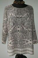 Cynthia Rowley Women's Blouse Top Zip Back Peasant Beige Black Print Large NEW