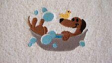 Perro Salchicha, paño de la cara, Franela, logotipo bordado Perro Salchicha Perro en bañera