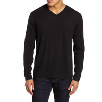 Nordstrom Signature Mens Cashmere V Neck Pullover Black Sweater XL