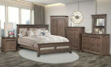 Amish 6-Pc Bedroom Set Transitional Solid Wood Queen King Gray Upholstered