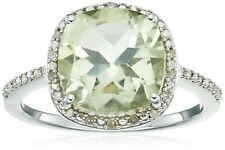 Jewelili Sterling Silver Cushion-cut Green Amethyst With White Diamond Halo C...