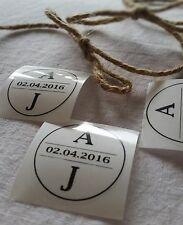 Wedding Stickers Personalised with initials clear circle modern design  x50