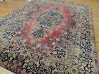9x12 Antique Sarough (Sarouk) wool hand-knotted Oriental Area Rug RED Blue/Gray