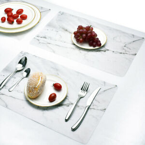 4PCS Dining Table Placemat PVC Mats Insulation Tableware Waterproof Non-Slip NEW