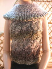 Doll Clothes Brown Shades Cable Sleeveless Sweater Hand Knit fits Tonner Tyler