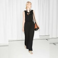 & Other Stories Black Jersey Open Back Maxi Dress 38 12