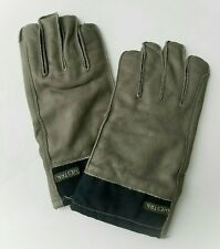 Hestra Mens Gray Elk Leather Gloves with Navy Trim Snap Cinch Cuff/Wrist Size 10