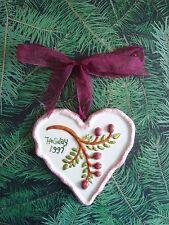 Bath & Body Works Ceramic Heart Hand-Crafted Holiday Ornament ~ Burgundy ~ 1997