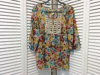 Lavish Womens Large Floral Shirt Peasant Balloon Sleeves Semi Sheer Blouse Top