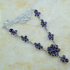 """Handmade Purple Natural Amethyst Pure 925 Sterling Silver Necklace 21.5"""" #E11122"""